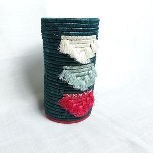 Bohemian teal woven  fringed flower vase